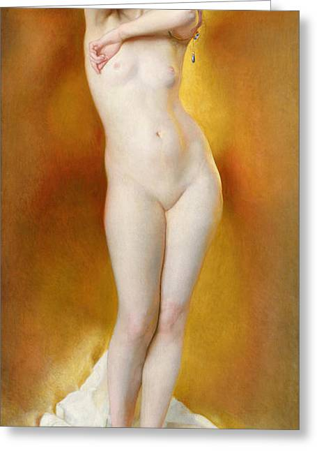 Frontal Nude Greeting Cards - Glow of Gold Gleam of Pearl Greeting Card by William McGregor Paxton