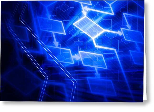 Glowing Blue Flowchart Greeting Card by Oleksiy Maksymenko