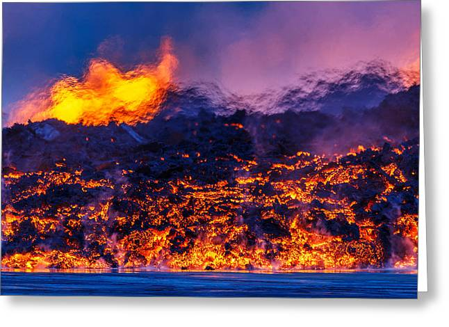 Glowing Lava From The Eruption Greeting Card by Panoramic Images