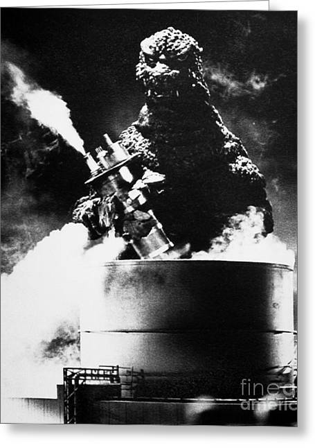 Destroyed Greeting Cards - Godzilla Greeting Card by Granger