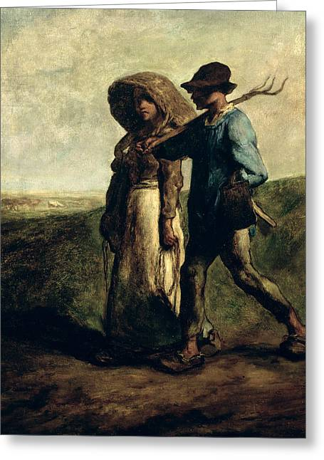 Going To Work Greeting Card by Jean Francois Millet