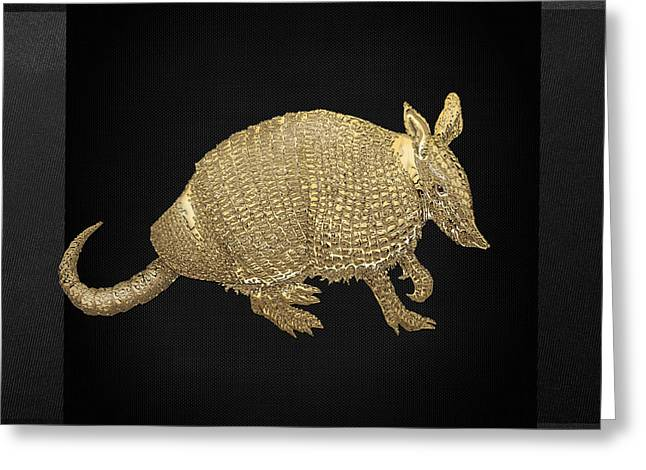 Gold Armadillo On Black Canvas Greeting Card by Serge Averbukh