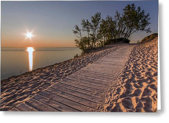 Golden Boardwalk Greeting Card by Twenty Two North Photography