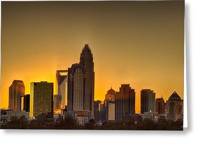 Golden Charlotte Skyline Greeting Card by Alex Grichenko