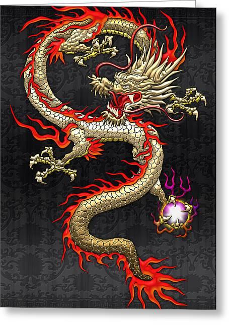Golden Chinese Dragon Fucanglong  Greeting Card by Serge Averbukh