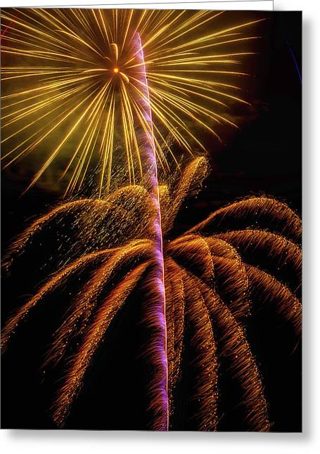 Golden Fireworks Greeting Card