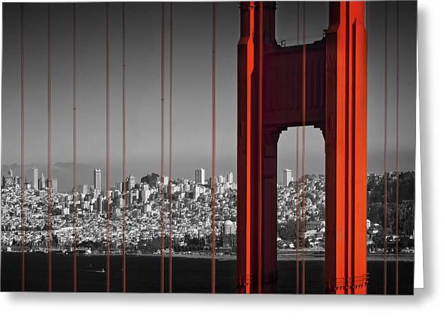 Golden Gate Bridge Panoramic Greeting Card by Melanie Viola