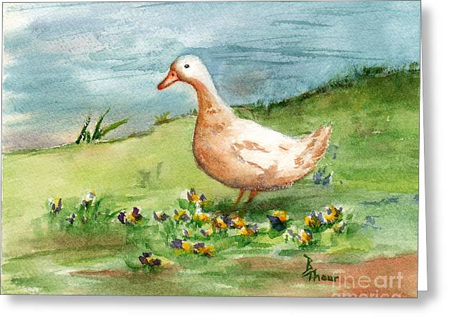 Golden Goose Greeting Card by Brenda Thour