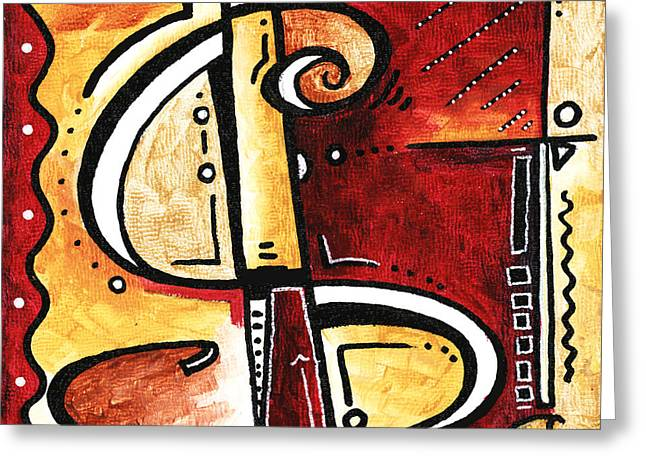 Golden Is A Fun Funky Mini Pop Art Style Original Money Painting By Megan Duncanson Greeting Card by Megan Duncanson