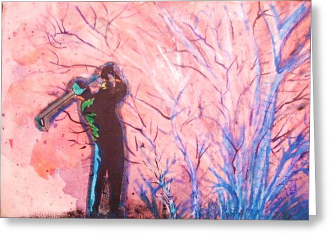 Golfer In The Pink For Par II Greeting Card by Anne-Elizabeth Whiteway