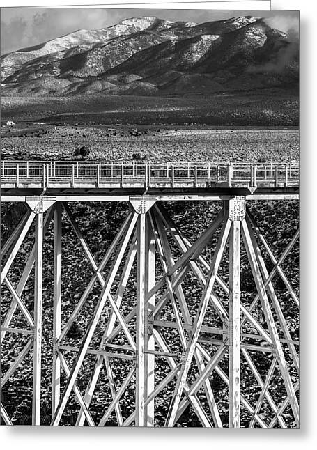 Gorge Bridge Black And White Greeting Card