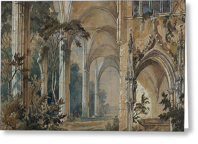 Gothic Church Ruin Greeting Card by Carl Blechen