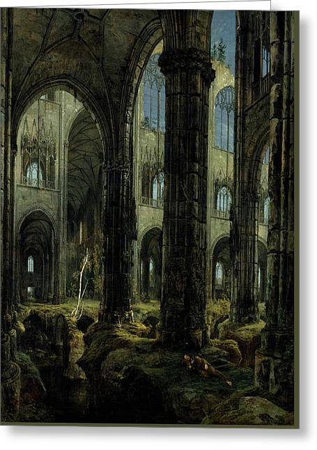 Gothic Church Ruins Greeting Card by Carl Blechen