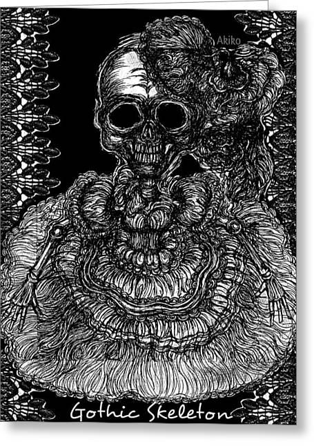 Gothic Skeleton Greeting Card by Akiko Okabe