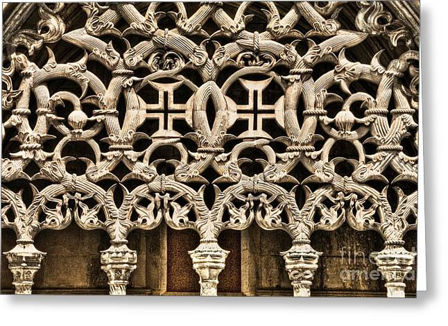gothic tracery Portugal Greeting Card by Mikehoward Photography