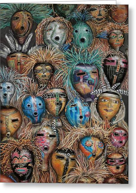 Collection Pastels Greeting Cards - Gourd Masks Greeting Card by Sam Pearson