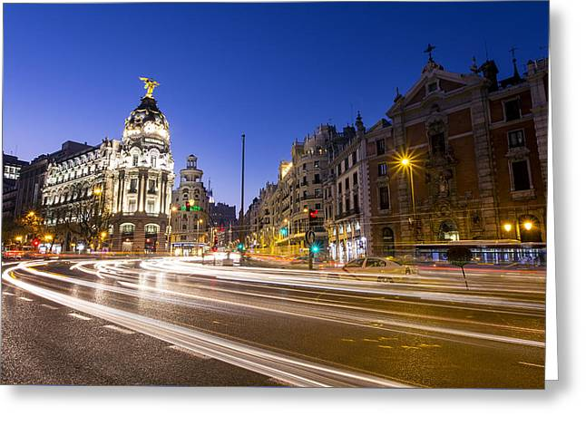 Gran Via Of Madrid, Spain Greeting Card by David Ortega Baglietto