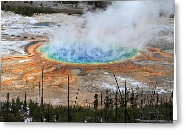 Grand Prismatic Springs In Yellowstone National Park Greeting Card by Pierre Leclerc Photography