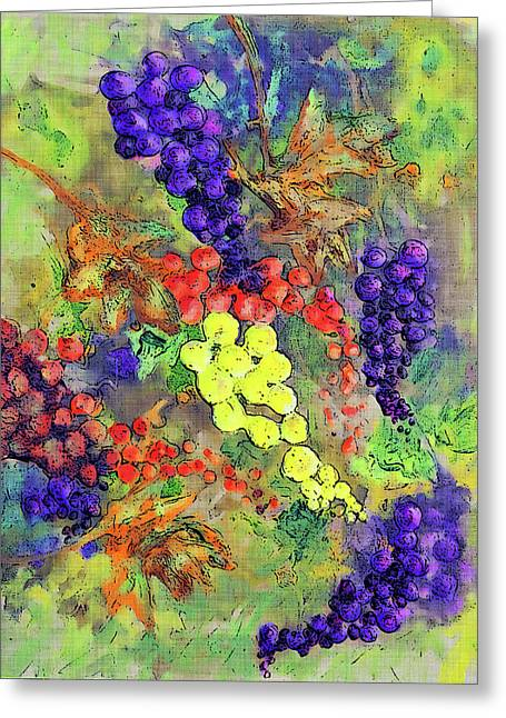 Grapes On The Vine Art 3 Greeting Card