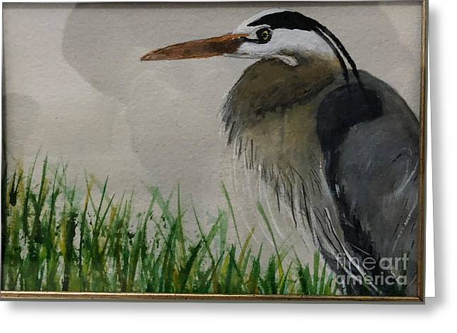 Greeting Card featuring the painting Great Blue Heron by Donald Paczynski