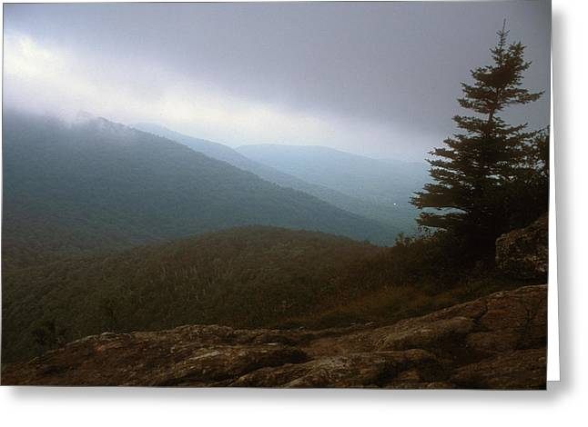 Great Cliff Of Mount Horrid Storm Greeting Card by John Burk
