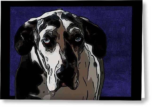 Great Dane Greeting Card by Alexey Bazhan