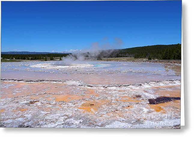 Great Fountain Geyser In Yellowstone National Park Greeting Card by Louise Heusinkveld
