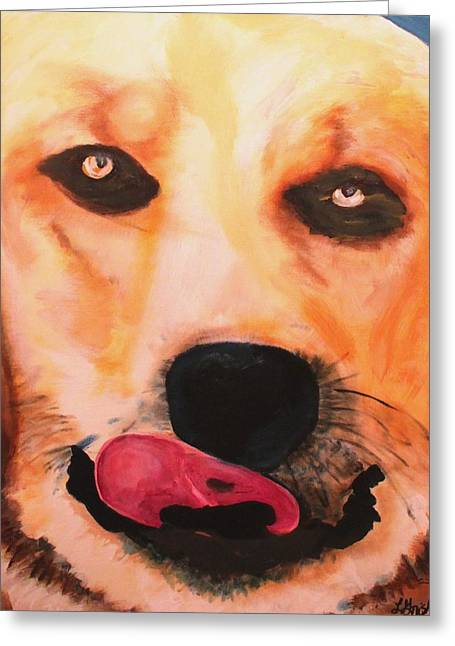 Greeting Card featuring the painting Great Pyrenees- Doc by Laura  Grisham