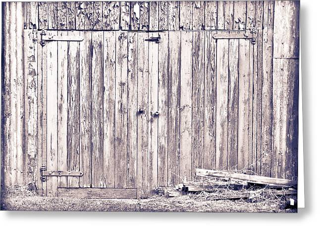 Green Barn Door Greeting Card by Tom Gowanlock