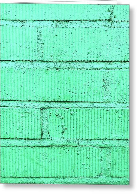 Green Brick Wall Greeting Card by Tom Gowanlock