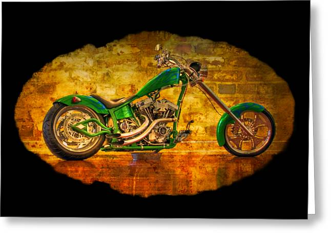 Custom Mirror Greeting Cards - Green Chopper Greeting Card by Debra and Dave Vanderlaan