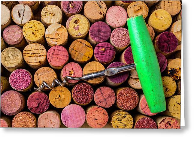 Green Corkscrew Greeting Card by Garry Gay