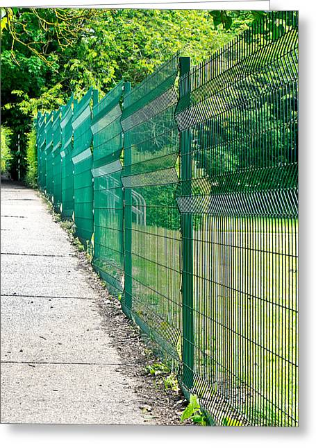 Green Fence Greeting Card by Tom Gowanlock