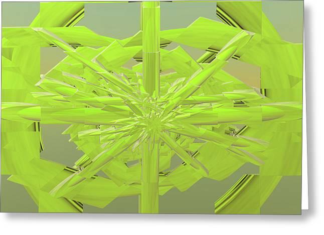 Incendia Greeting Cards - Green On Green Greeting Card by Deborah Benoit