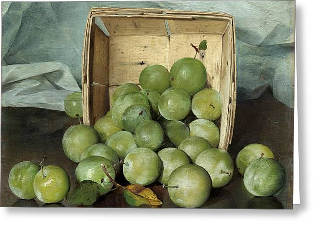 Green Plums Greeting Card