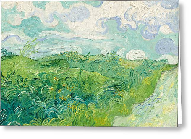 Green Wheat Fields   Auvers Greeting Card by Vincent Van Gogh