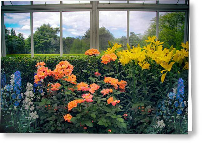 Greenhouse Garden Greeting Card by Jessica Jenney