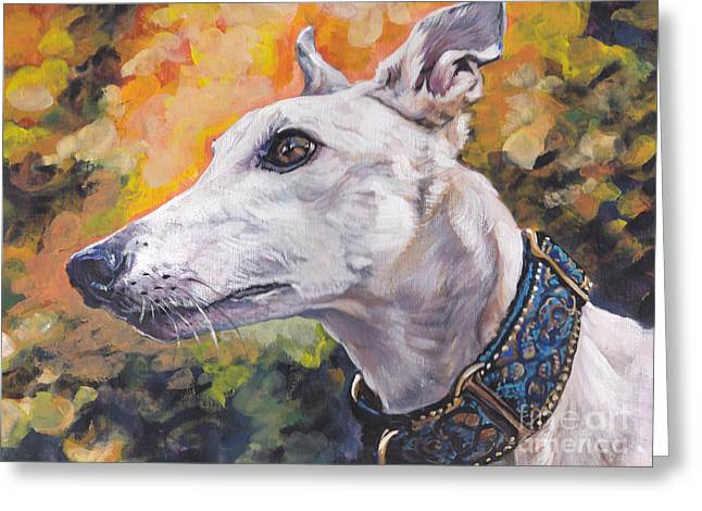 Greeting Card featuring the painting Greyhound Portrait by Lee Ann Shepard