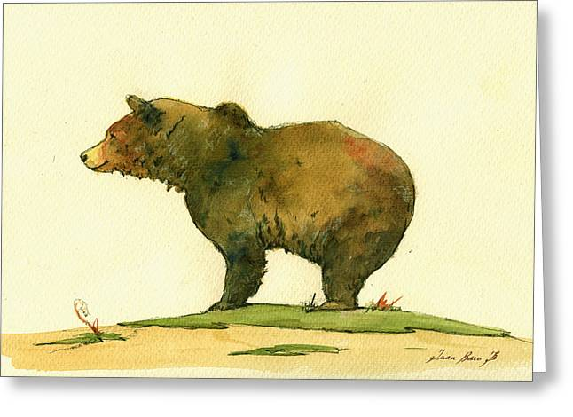 Grizzly Bear Watercolor Painting Greeting Card by Juan  Bosco