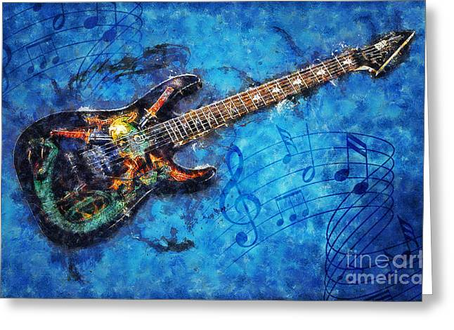 Greeting Card featuring the digital art Guitar Love by Ian Mitchell