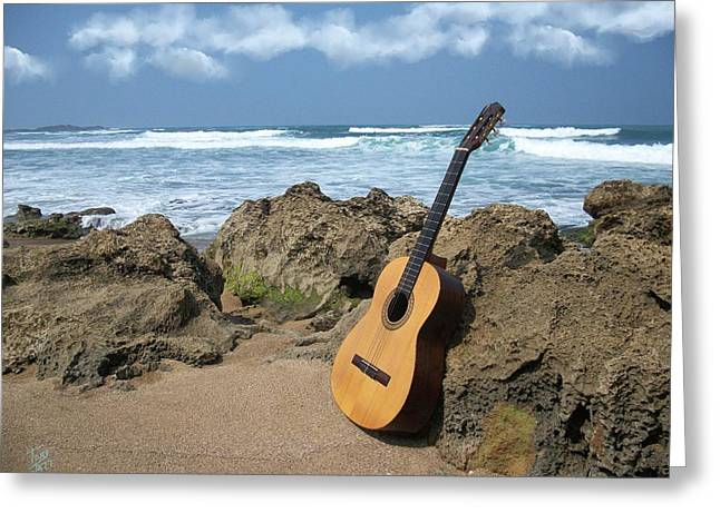 Guitar Seascape Greeting Card