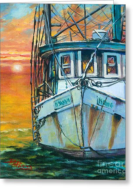 Gulf Coast Shrimper Greeting Card by Dianne Parks