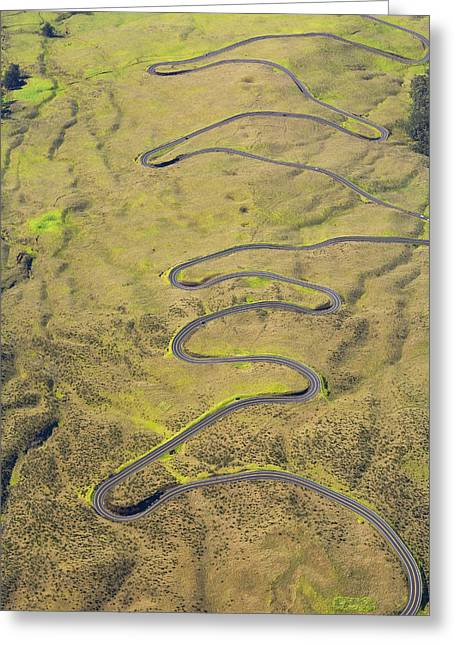 Twisting Greeting Cards - Haleakala Highway Greeting Card by Ron Dahlquist - Printscapes