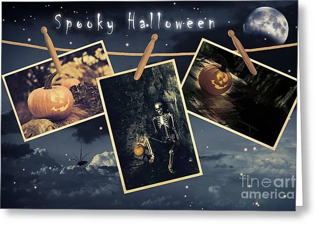 Halloween Line Greeting Card by Amanda Elwell