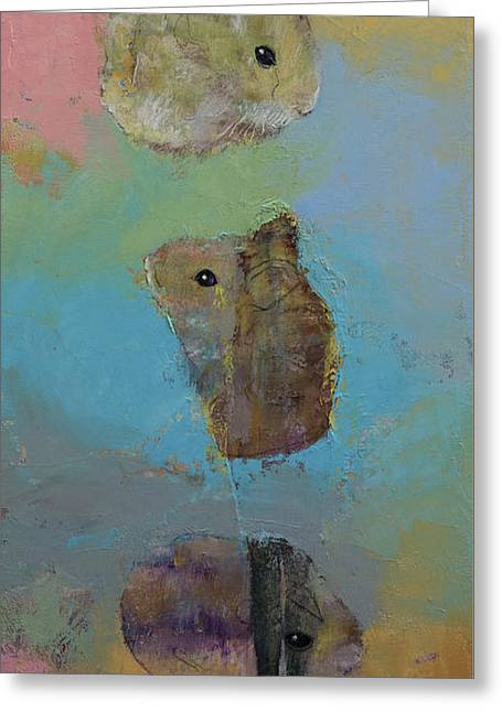 Three Little Hamsters Greeting Card by Michael Creese