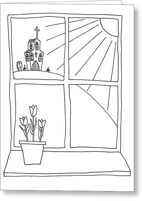 Hand Drawn Cartoon Style Doodle Illustration Of Spring Tulips On Greeting Card by Matthew Gibson