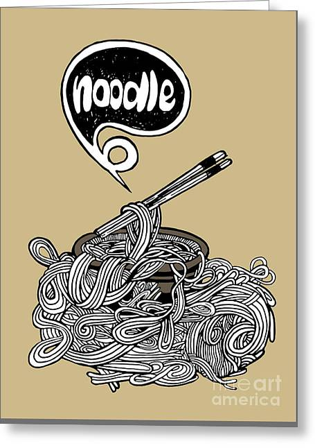 hand drawn doodle Noodle background Greeting Card by Pakpong Pongatichat