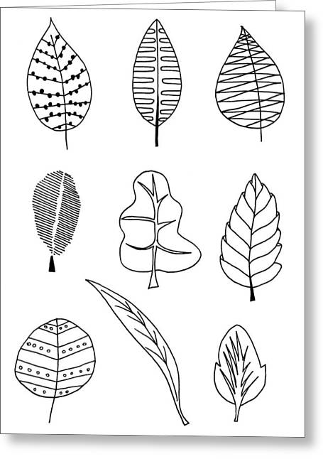 Hand Drawn Ilustration Of Various Types Of Autumn Leaf Greeting Card