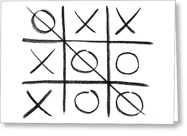 Hand-drawn Tic-tac-toe Game Greeting Card by GoodMood Art