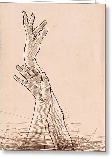 Hand Study Greeting Card by H James Hoff